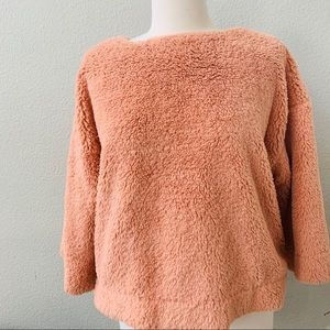 NWT MADEWELL peachy pink 3/4 sleeve fuzzy sherpa M